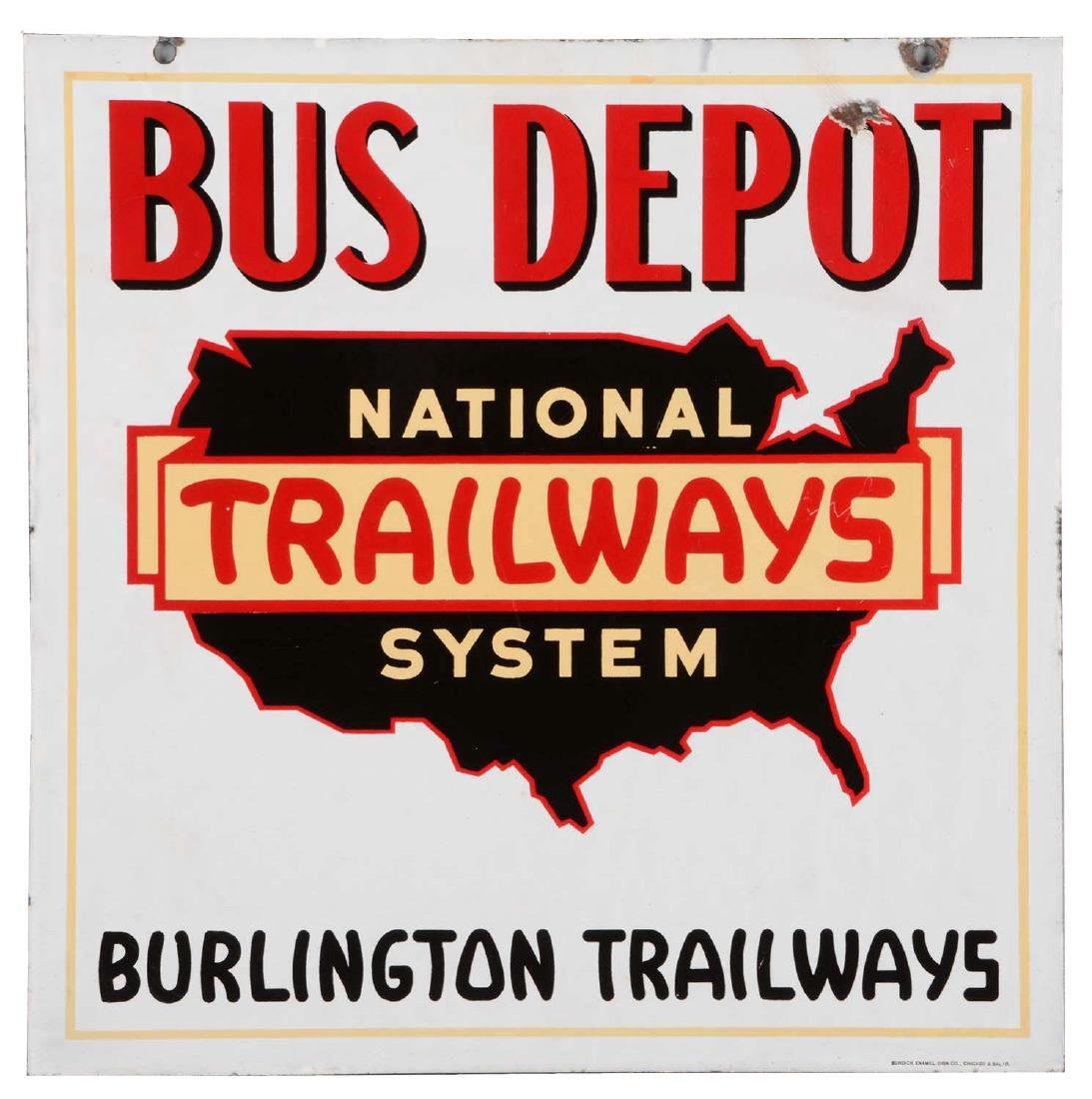 National Trailways Bus Depot Porcelain Sign.