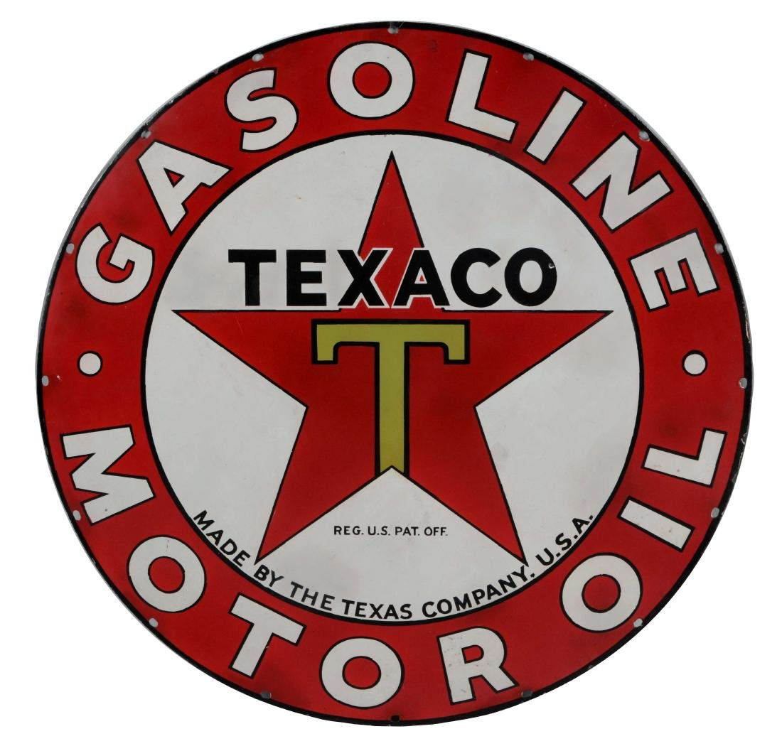 Texaco Gasoline & Motor Oil Porcelain Sign