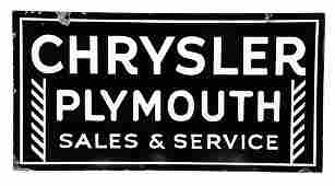Chrysler Plymouth Sales  Service Porcelain Sign
