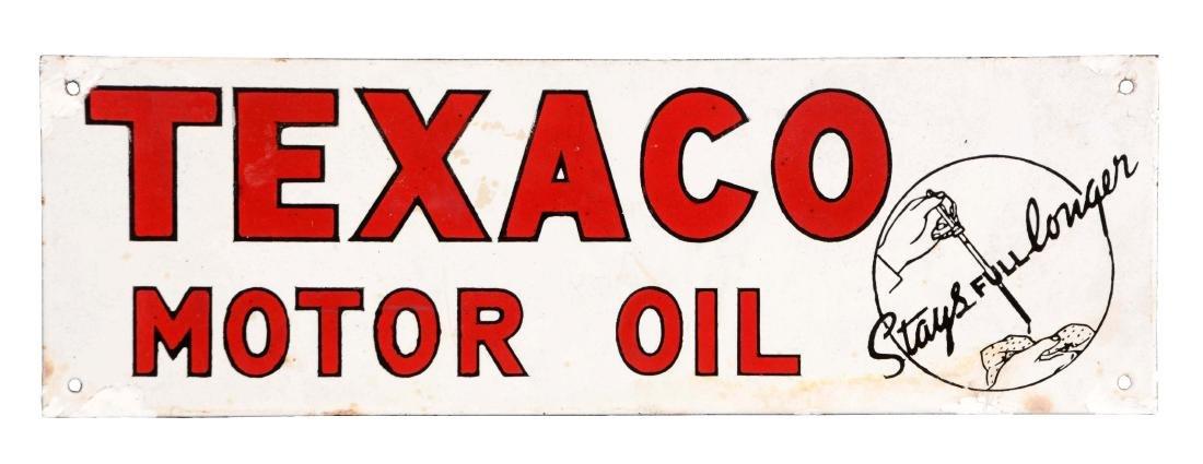 """Rare Texaco Motor Oil """"Stays Full Longer"""" Porcelain"""