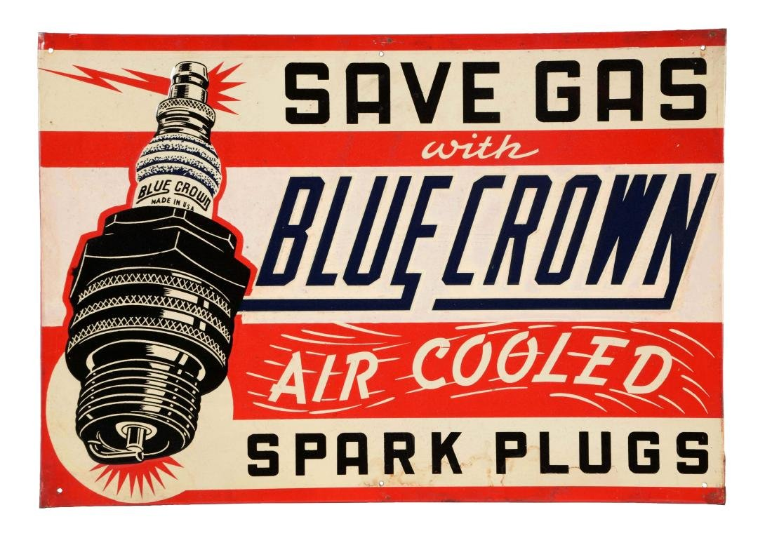 Blue Crown Air Cooled Spark Plugs Embossed Tin Sign.