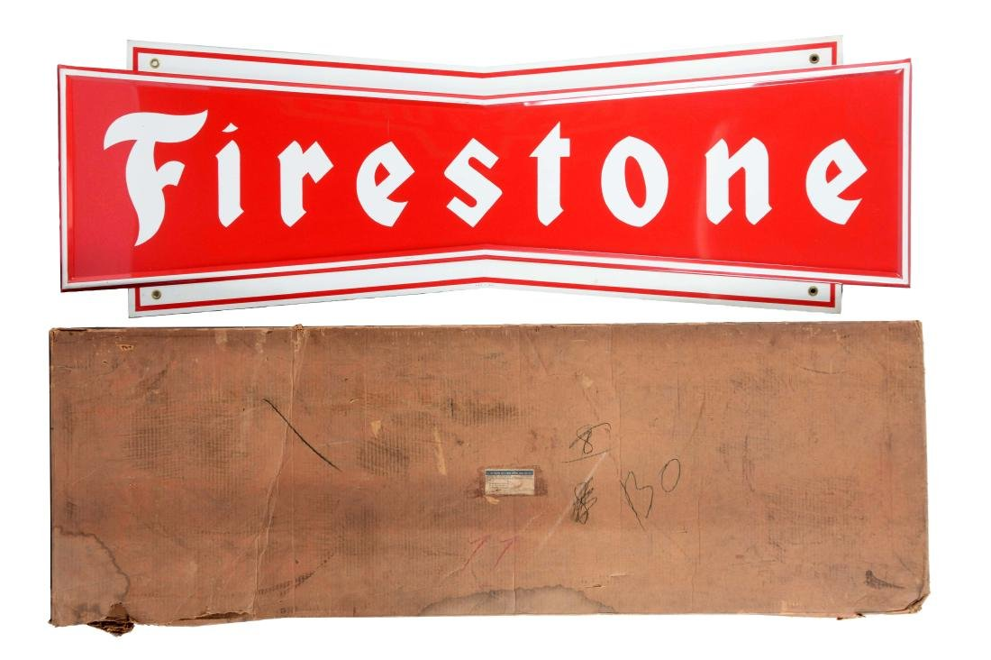 Firestone Tires Embossed Tin Sign with Original