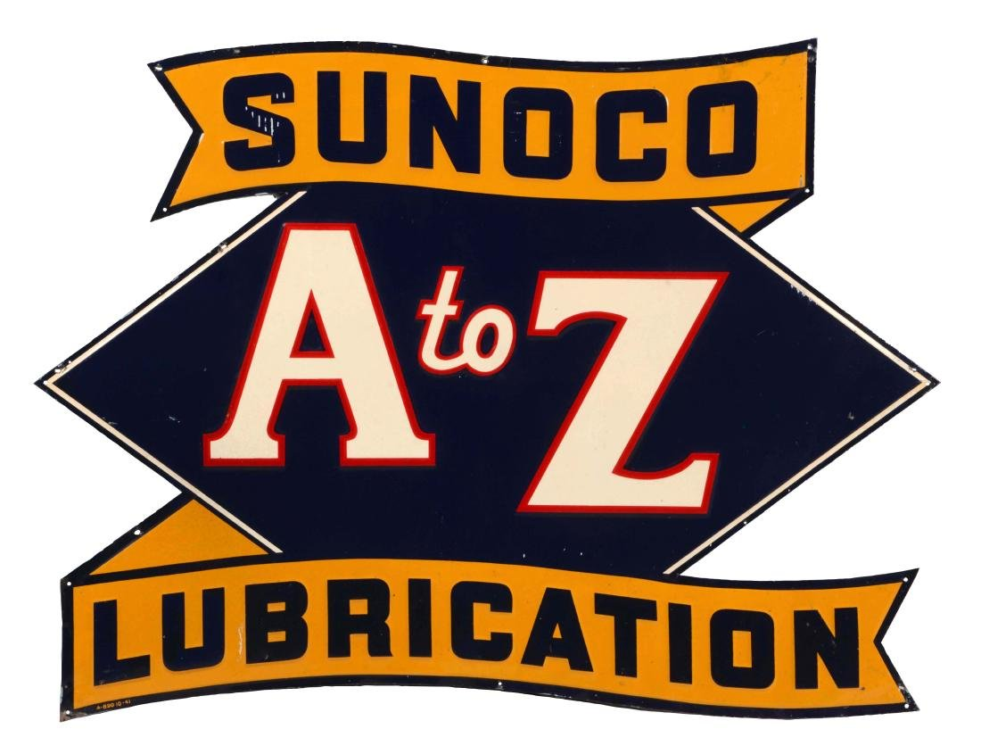 Sunoco A To Z Lubrication Embossed Tin Sign.