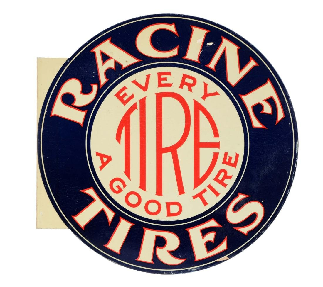 New Old Stock Racine Tires Tin Flange Sign.