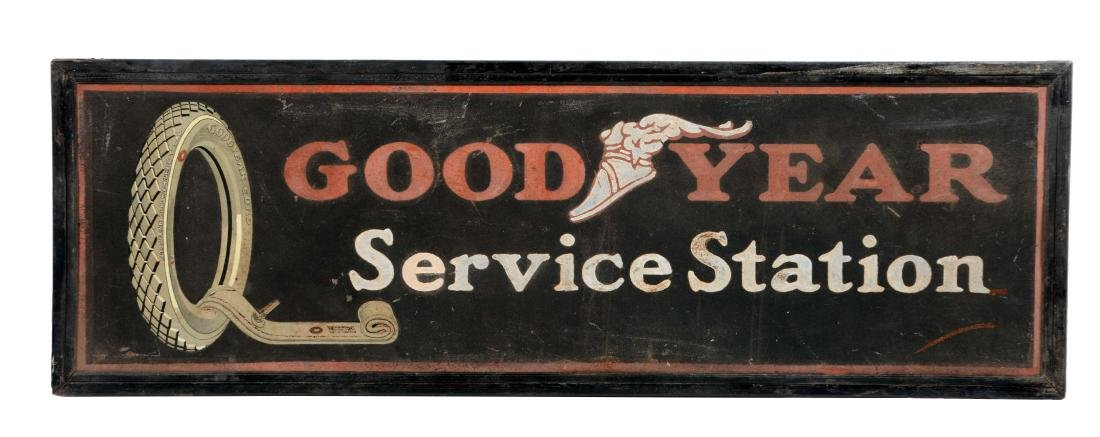 Goodyear Tires Service Station Tin Sign with Wood