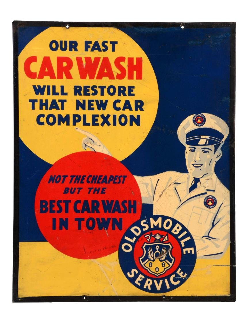 Oldsmobile Service Tin Sign With Crest Logo.