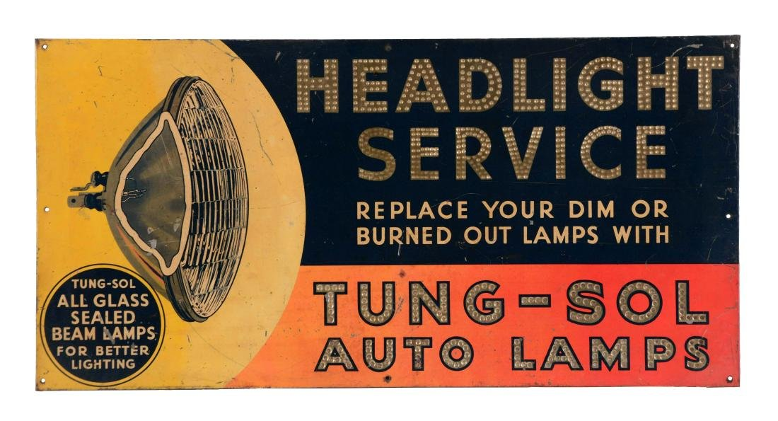 Tung Sol Auto Lamps Headlight Service Tin Sign.