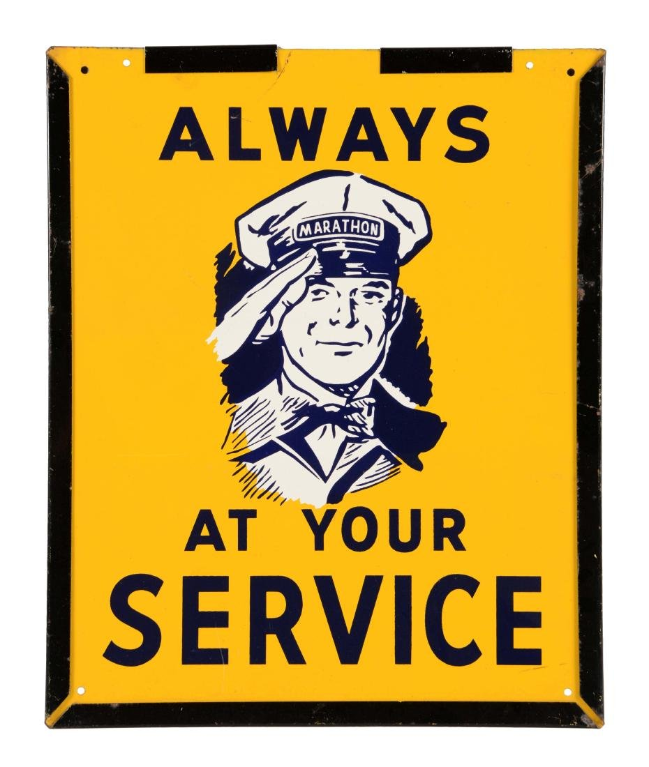 Marathon Gasoline Always At Your Service Tin Sign.