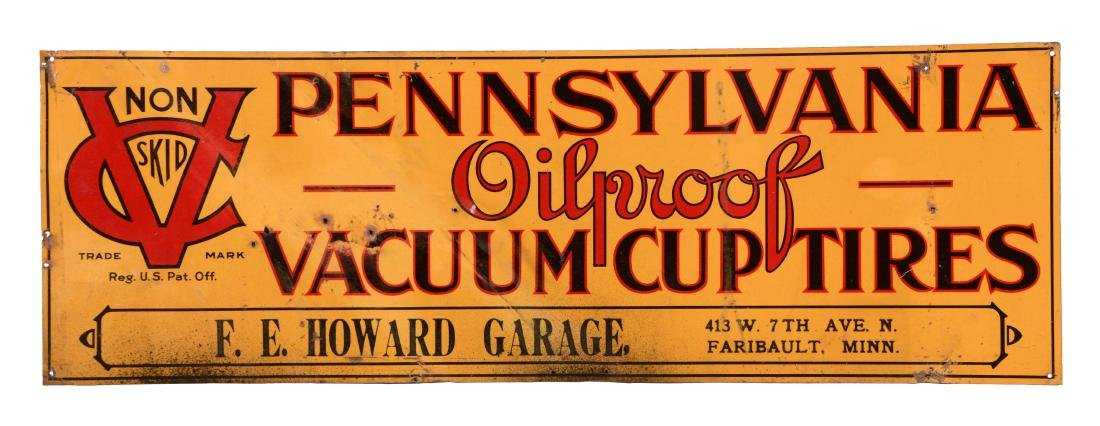 Pennsylvania Oil Proof Vacuum Cup Tires Tin Sign.