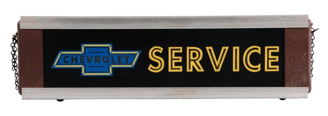 Chevrolet Service Glass Light Up Store Display Sign.