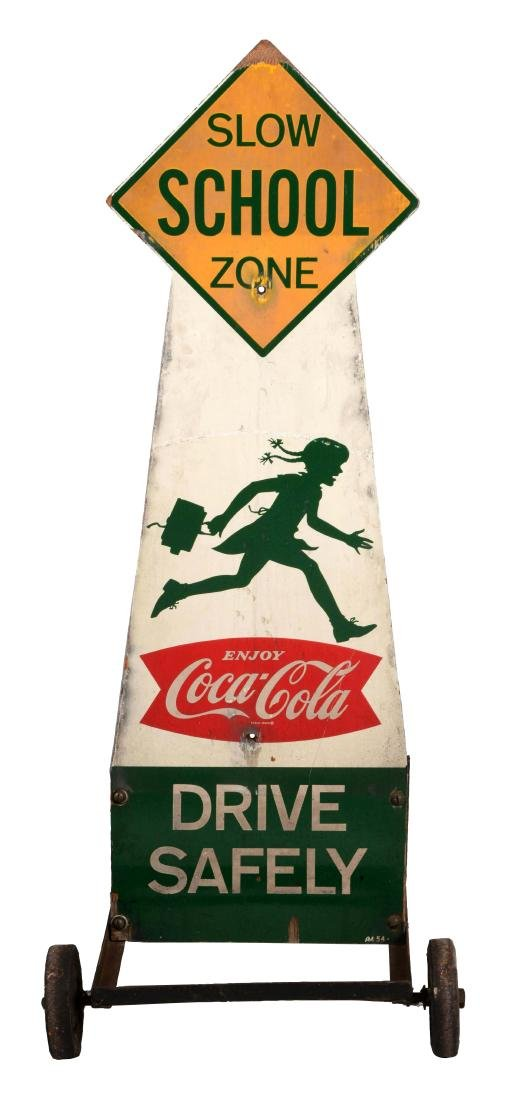 Coca-Cola School Zone Plywood Curb Sign.
