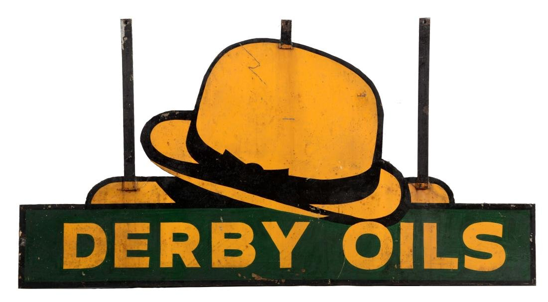 Derby Oils Diecut Metal Service Station Sign.