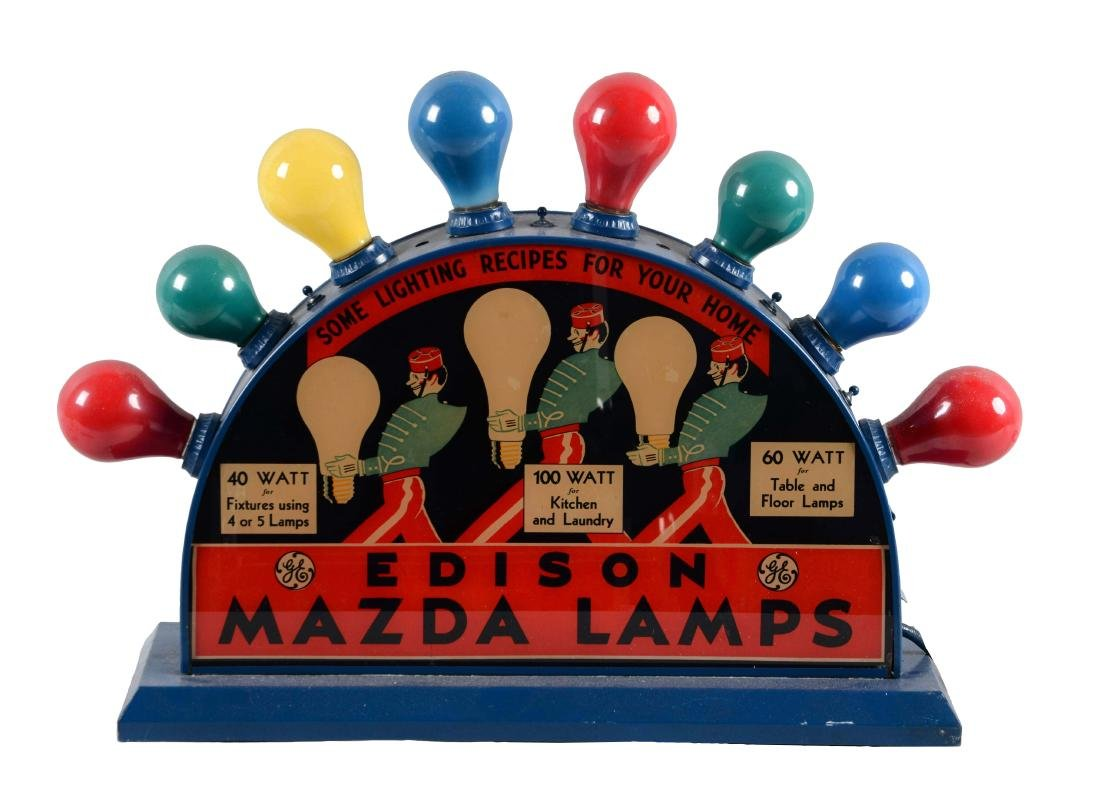 Edison Mazda Lamps Counter Top Glass Light Up Store