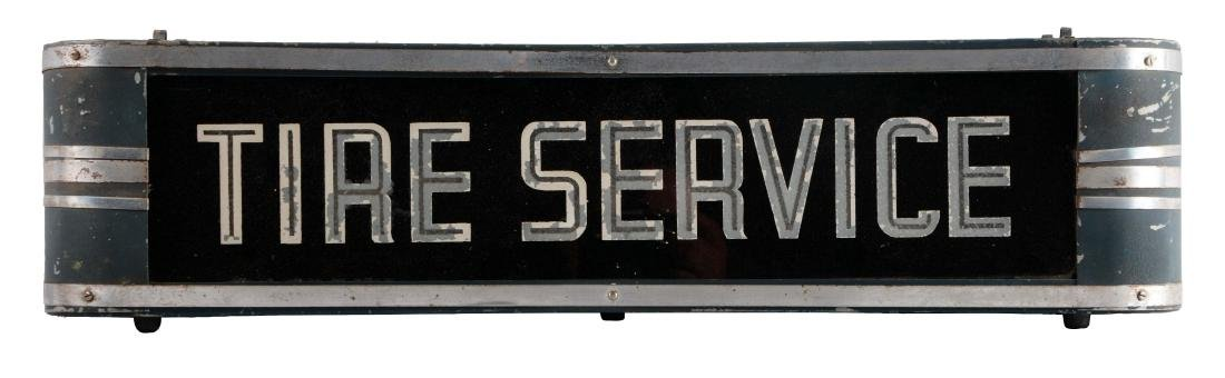 Tire Service Reverse Glass Light Up Sign In Metal Case.