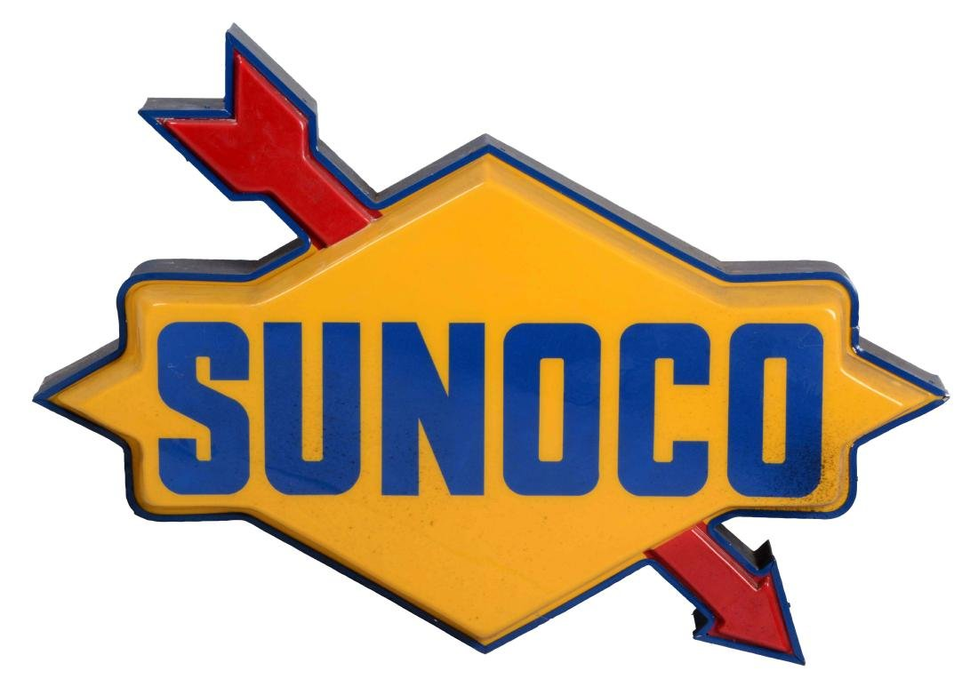Sunoco Gasoline Diecut Plastic Light Up Sign.