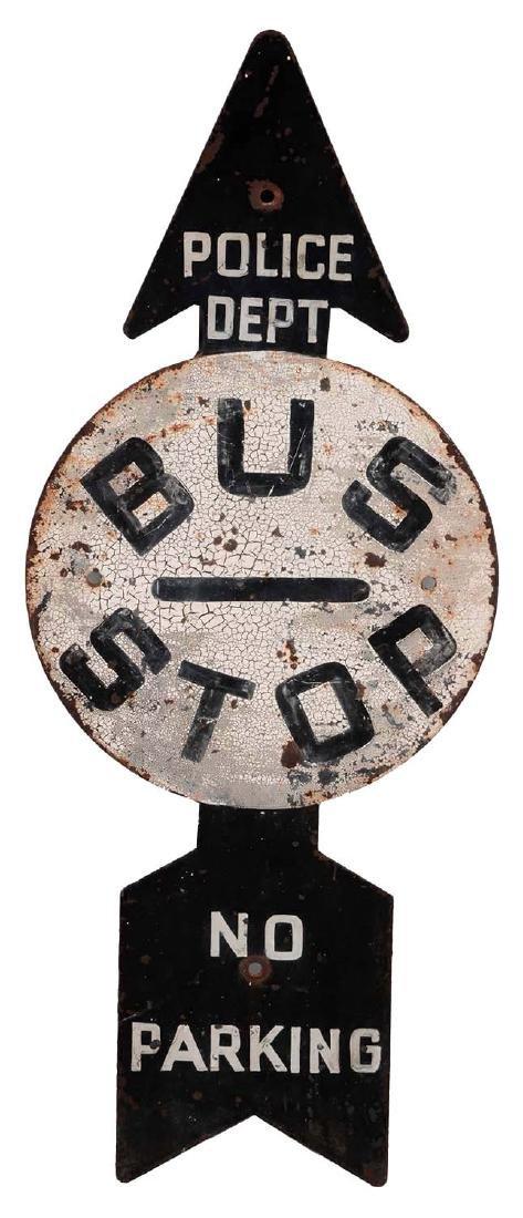 Bus Stop No Parking Diecut Painted Metal Sign.
