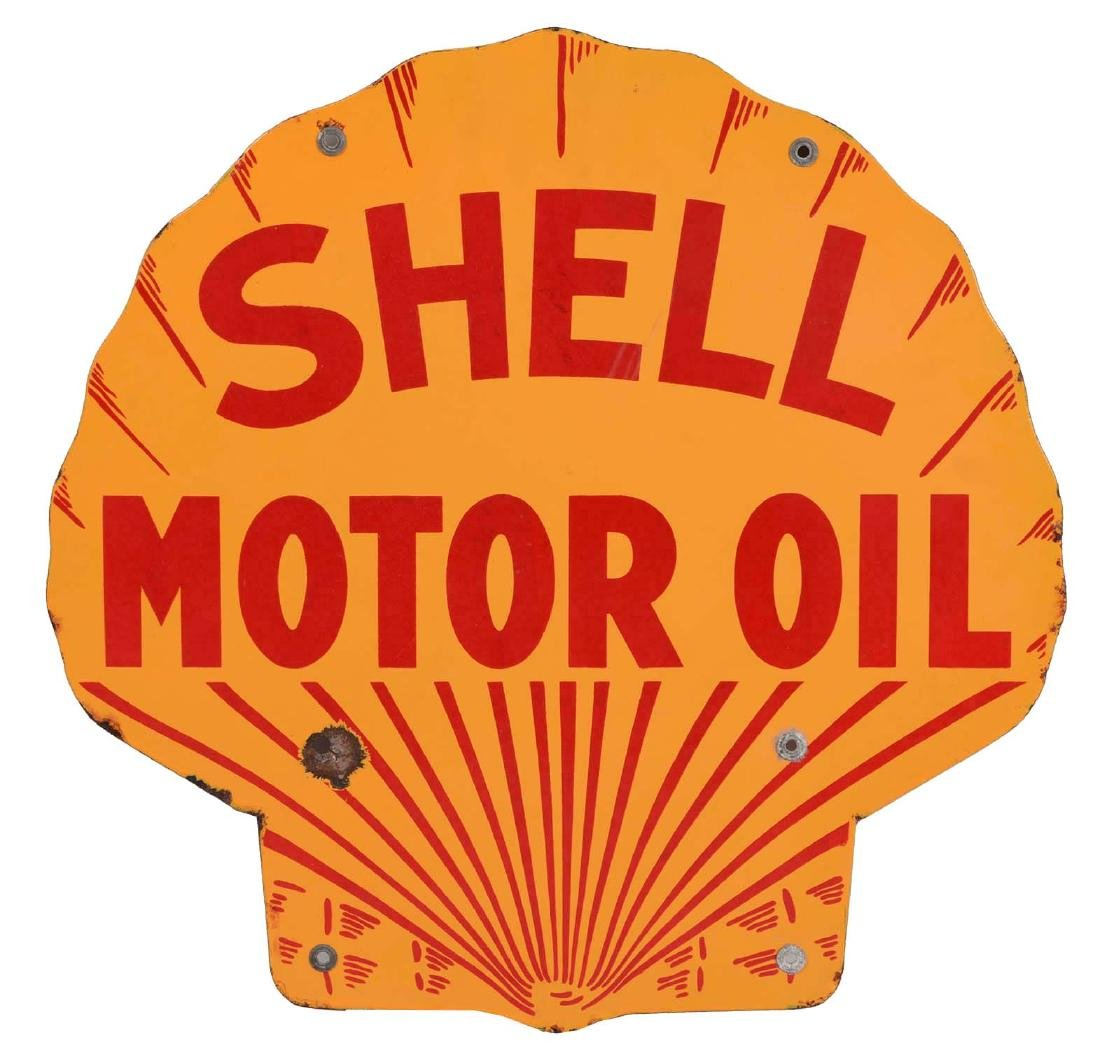 Shell Motor Oil Diecut Porcelain Curb Sign.