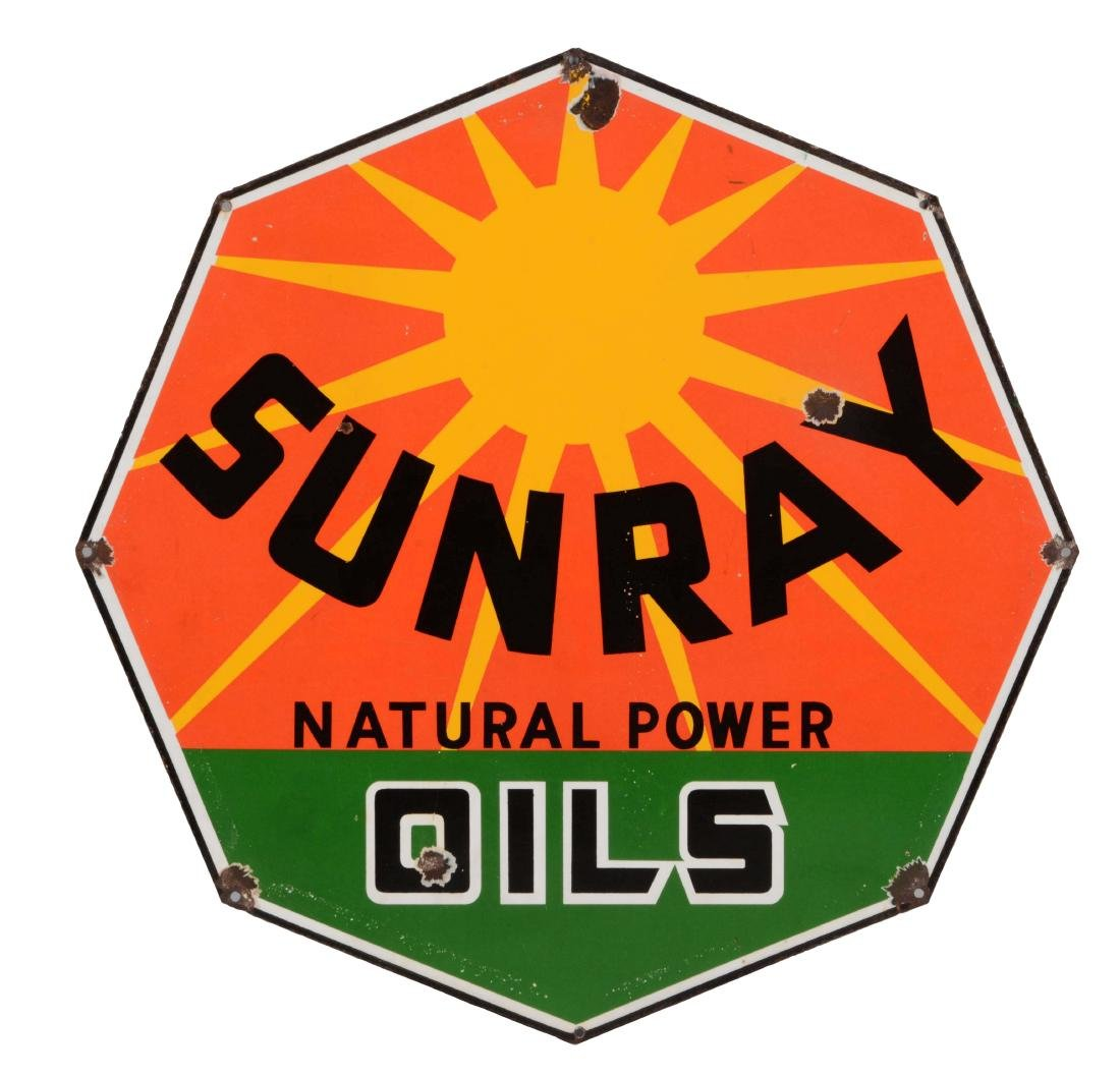 DX Sunray Motor Oils Porcelain Sign.