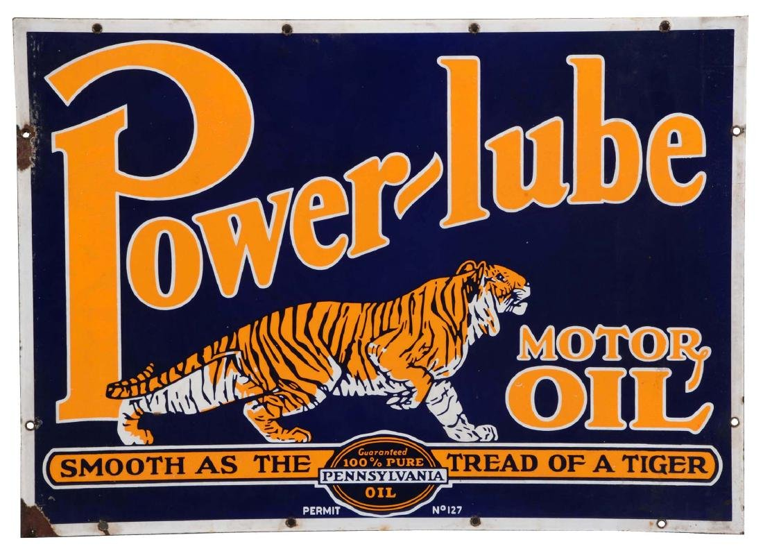 Powerlube Motor Oil Porcelain Sign with Tiger Graphic.