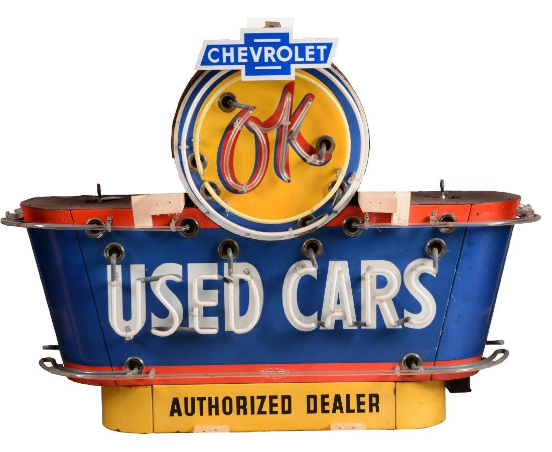 OK Used Cars Neon Porcelain Sign.
