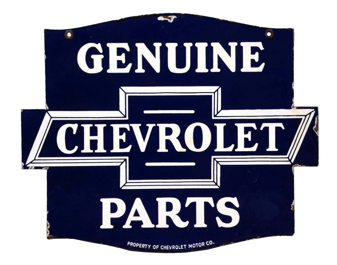 Chevrolet Genuine Parts Diecut Porcelain Sign.