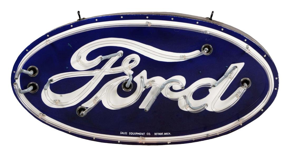 Restored Ford Porcelain Oval Neon Sign on Metal Can.