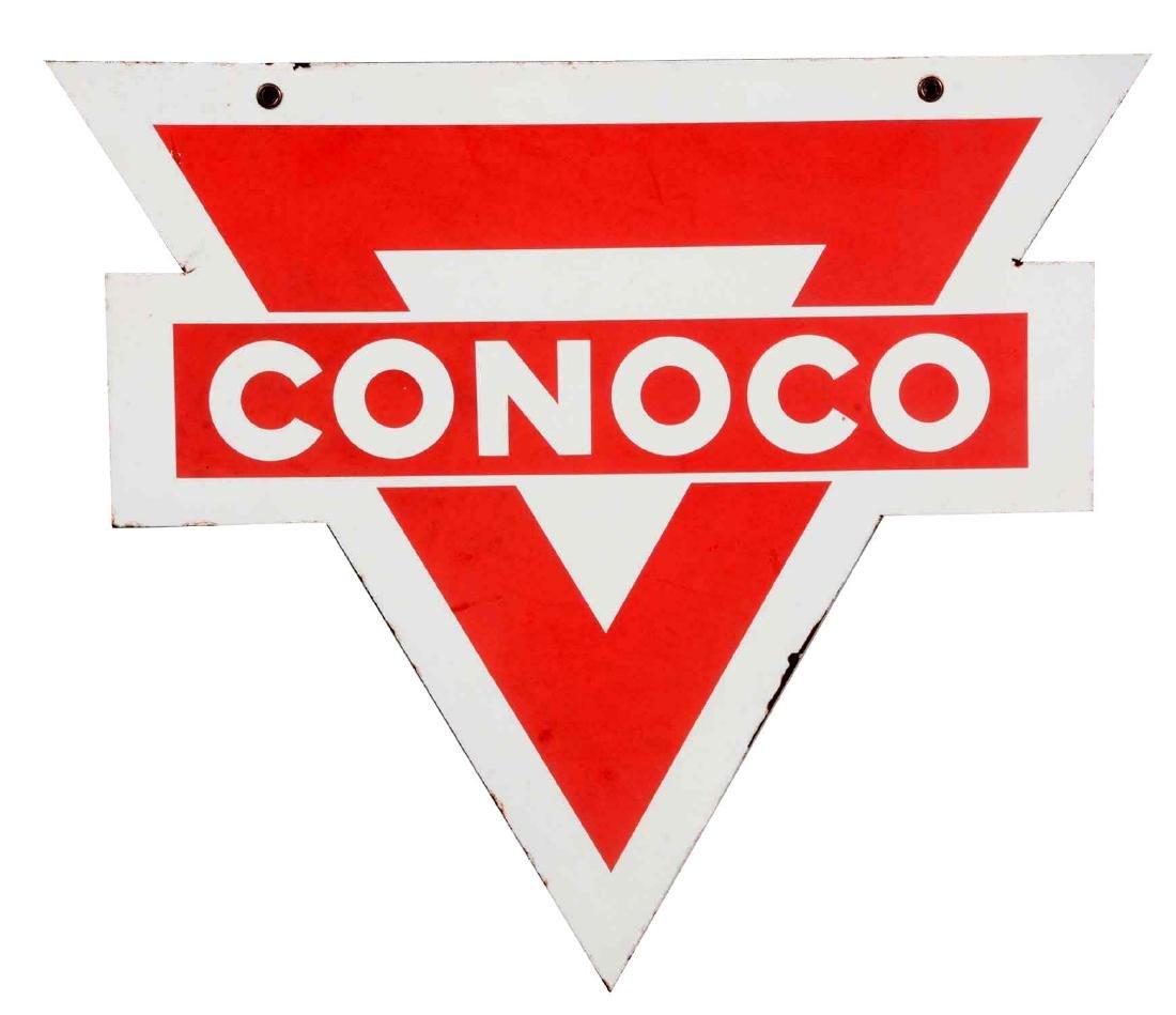 Conoco Gasoline Porcelain Triangle Sign.