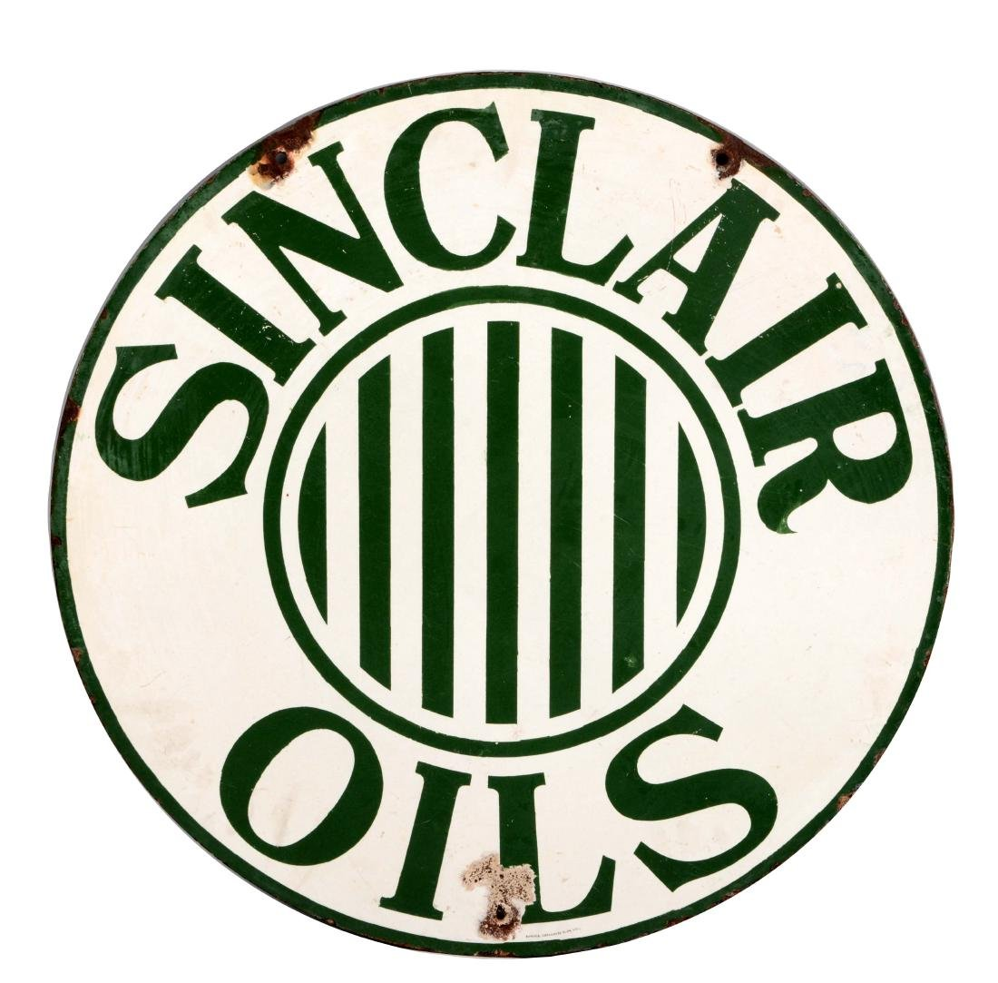 Early Sinclair Oils Porcelain Sign With Stripe Graphic.