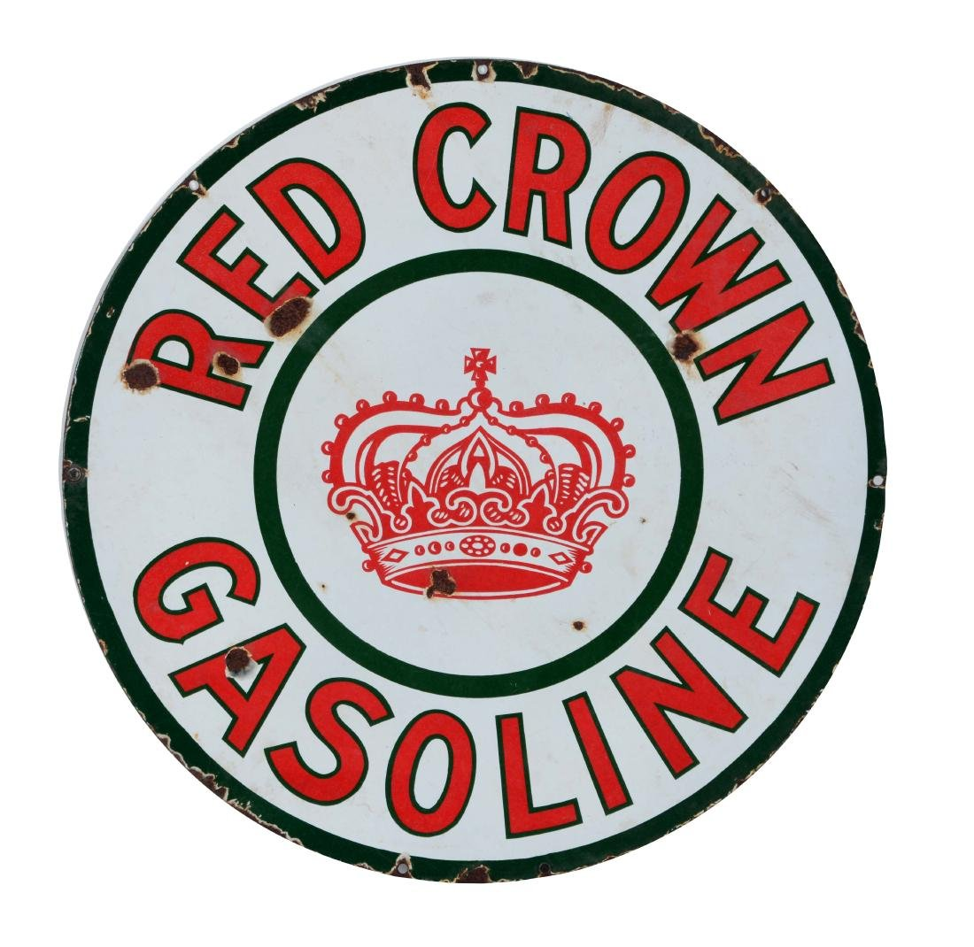 Red Crown Gasoline Porcelain Sign with Crown Graphic.