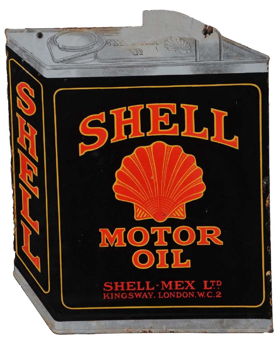 Shell Motor Oil Die Cut Porcelain Sign With Can
