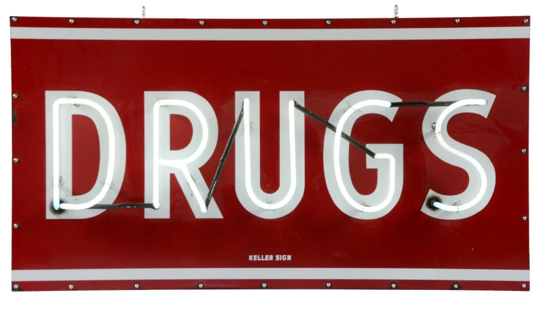 Porcelain Drugs Neon Sign On Metal Can