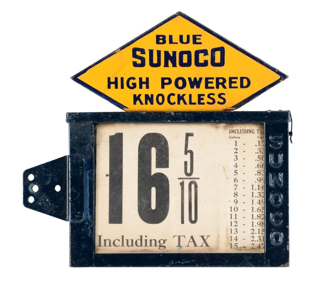 Blue Sunoco Visible Pump Pricer with Porcelain Sunoco