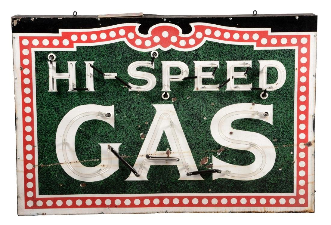 Hi-Speed Gas Porcelain Sign with Added Neon On Metal