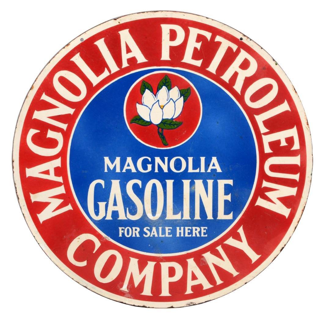 Magnolia Gasoline For Sale Here Porcelain Sign.