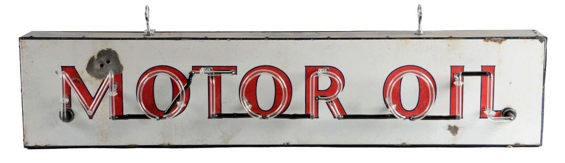Motor Oil Porcelain Sign with Added Neon.