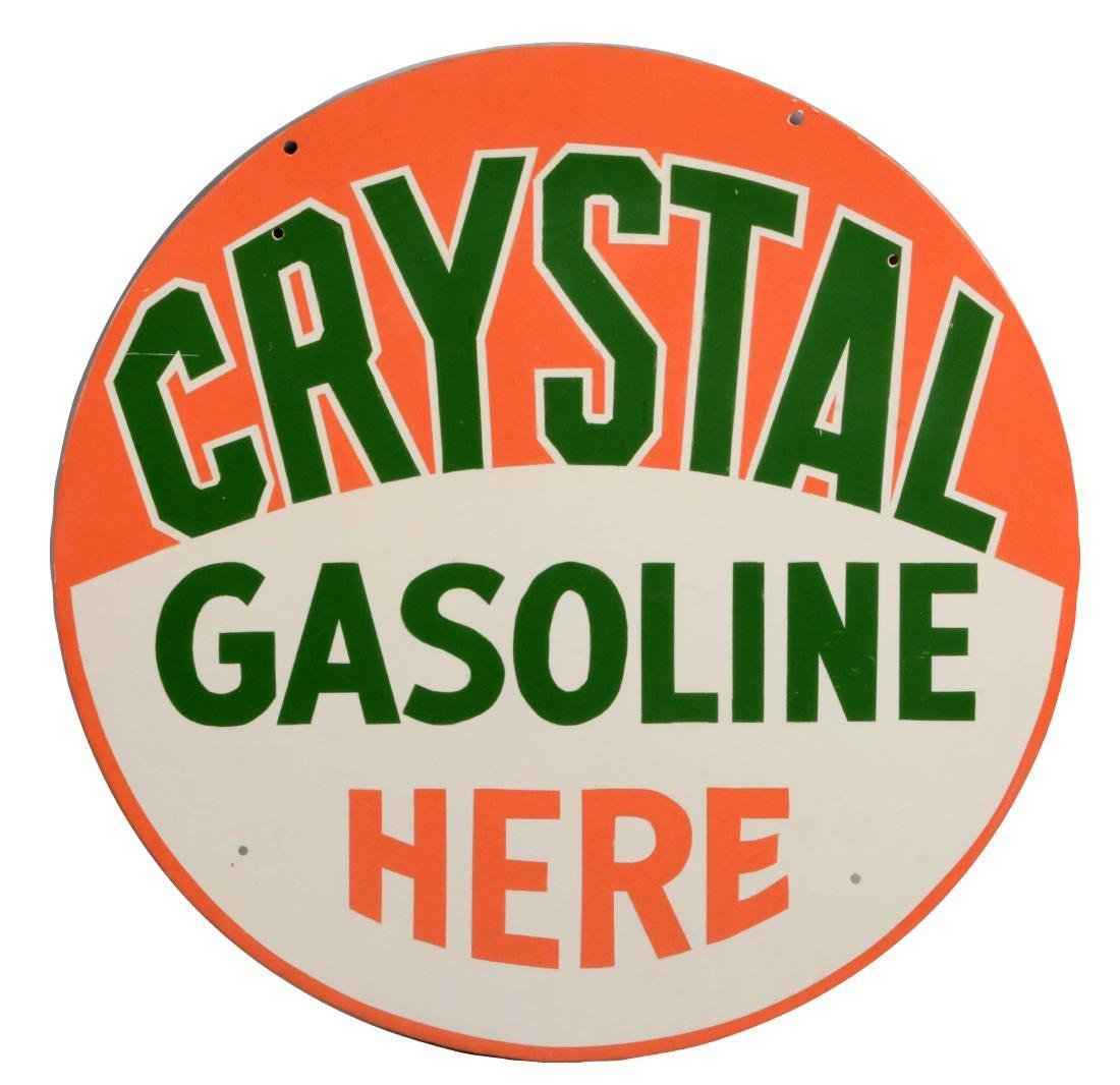 Crystal Gasoline Here Porcelain Sign.