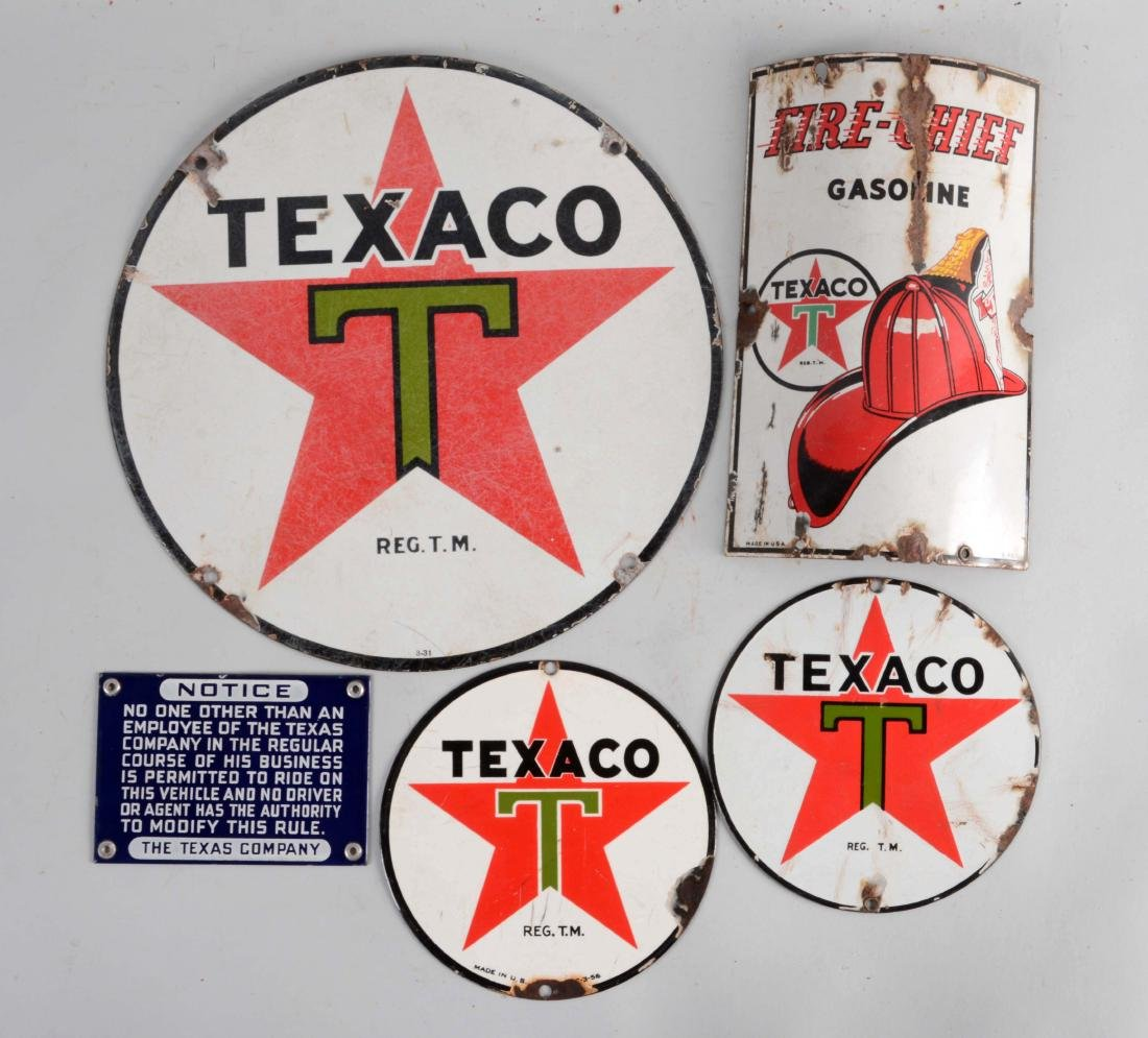 Lot of 5: Texaco Gasoline & Motor Oil Porcelain Signs.