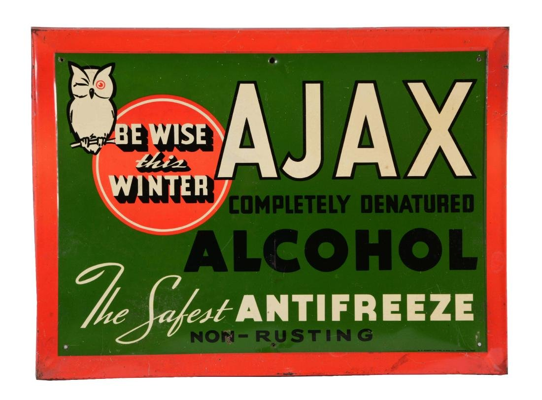 Ajax Antifreeze Self Framed Tin Sign.