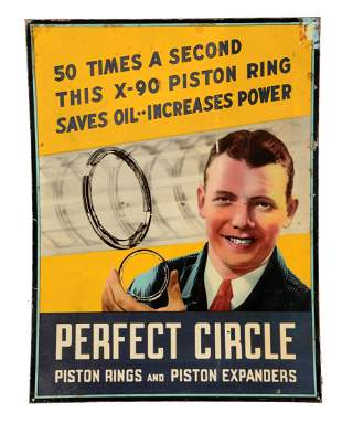 Perfect Circle Piston Rings Tin Sign with Graphic