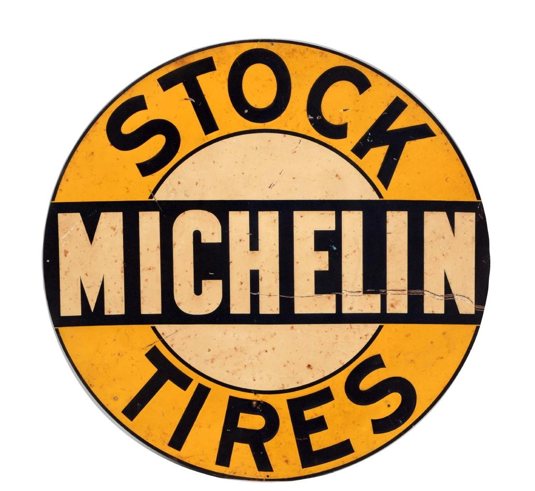 Michelin Stock Tires Embossed Tin Sign.