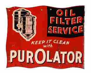 Purolator Oil Filter Service Die Cut Tin Flange Sign