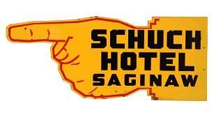 Schuch Hotel Saginaw Tin Finger Pointing Sign