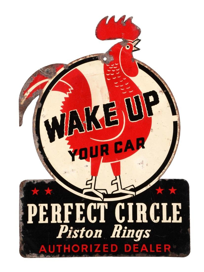 Perfect Circle Piston Rings Diecut Tin Sign.