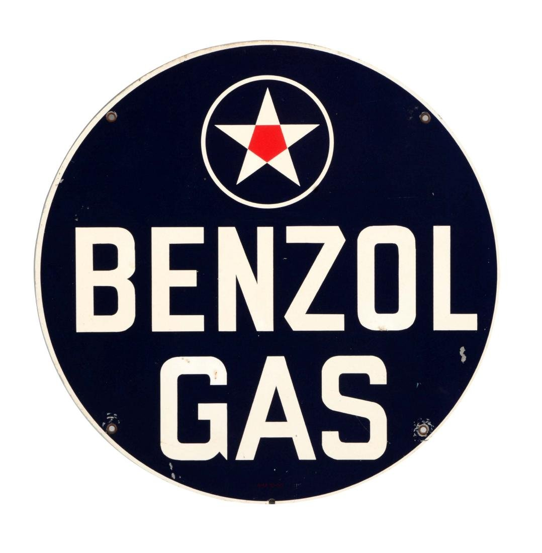 Benzol Gas Tin Sign with Star Graphic.