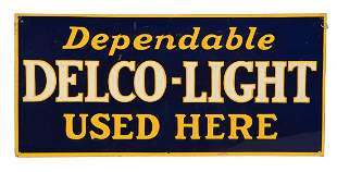 Dependable Delco Light Used Here Embossed Tin Sign