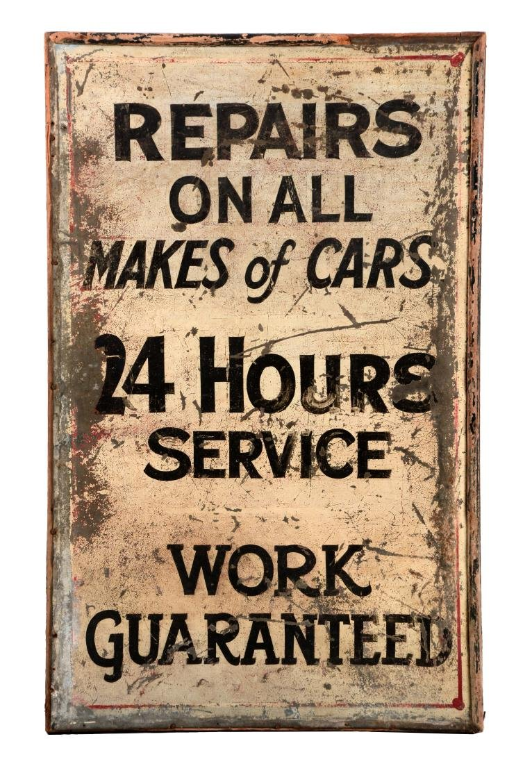 Repair & Service Wood Framed Tin Service Station Sign.