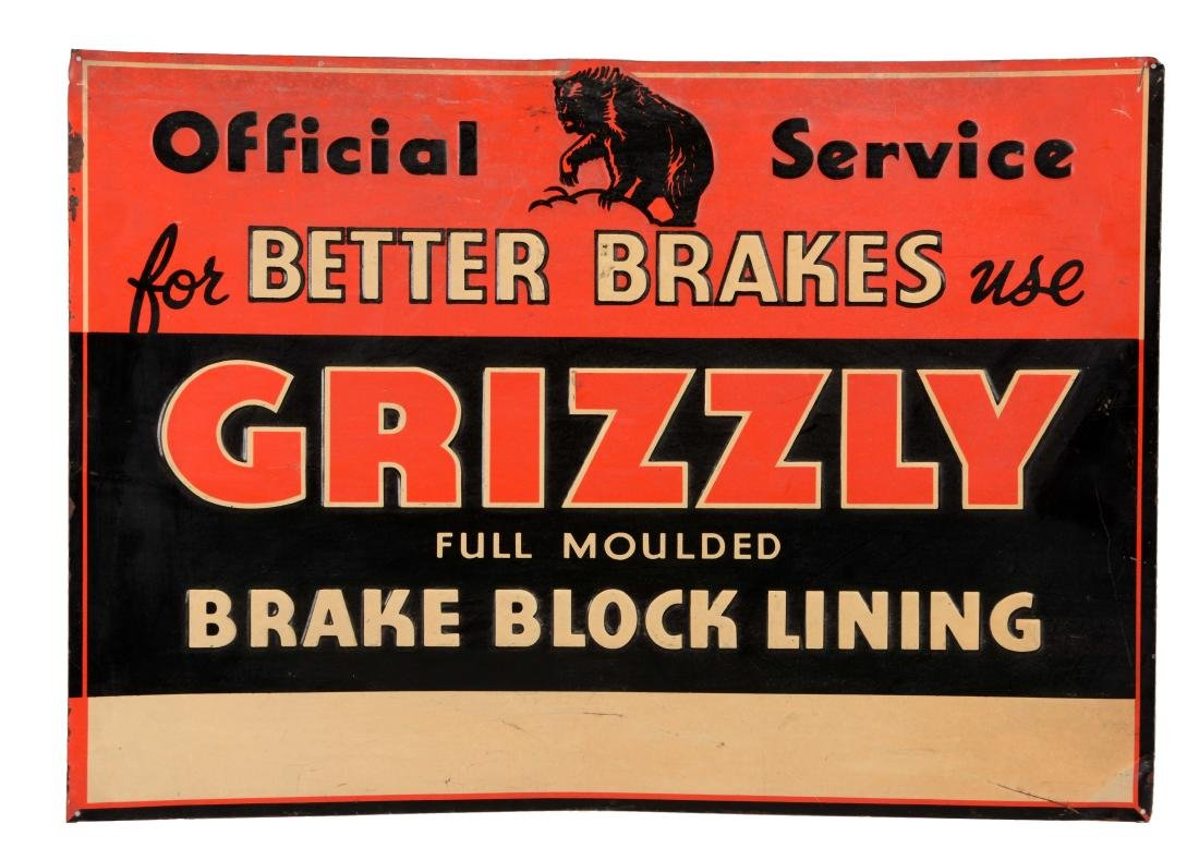 Grizzly Brake Lining Embossed Tin Sign.