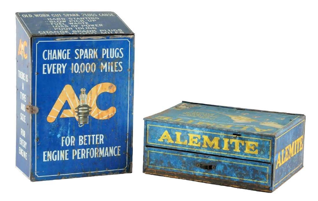 Lot of 2: AC Spark Plug & Alemite Lubrication Metal