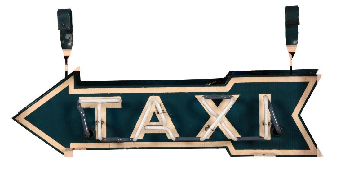Metal Taxi Neon Arrow Sign.