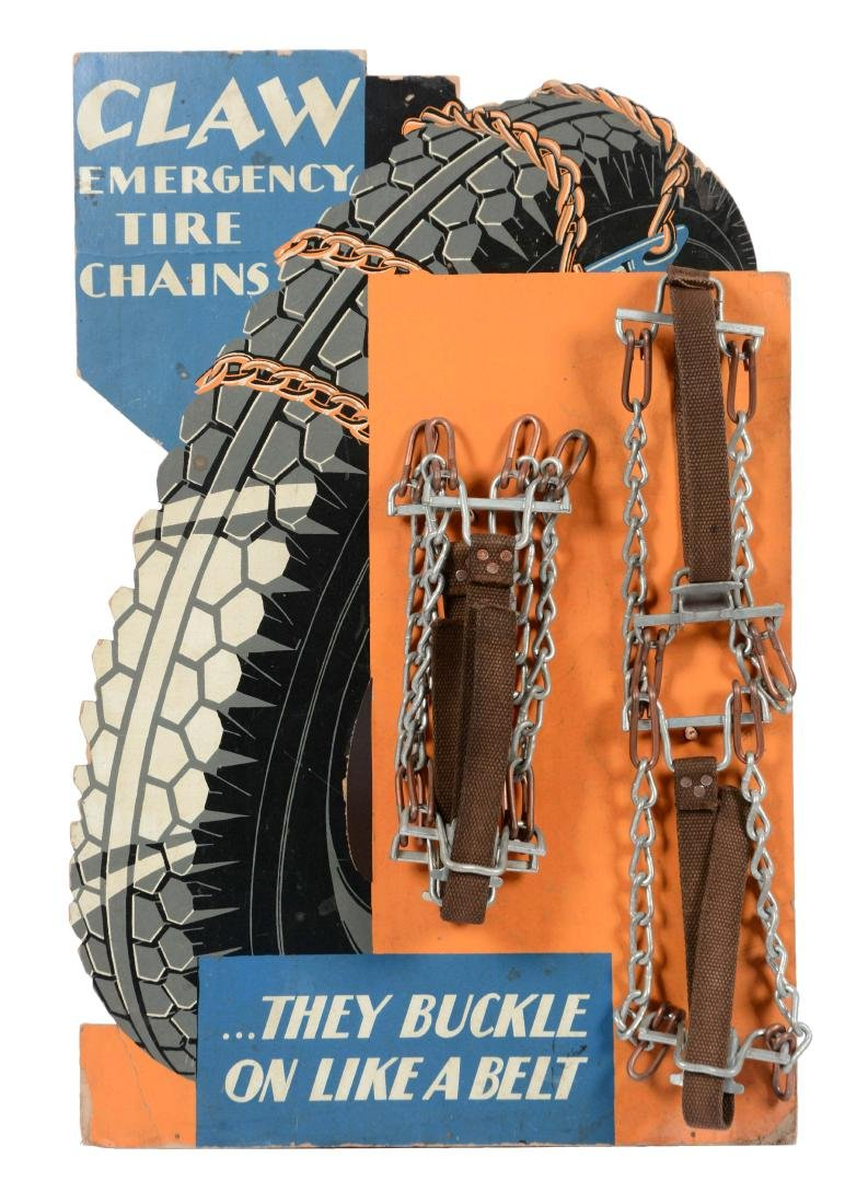 Claw Emergency Tire Chains Easel Back Cardboard Counter
